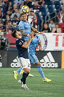 FOXBOROUGH, MA - SEPTEMBER 29: Ronald Matarrita #22 of New York City FC heads the ball during a game between New York City FC and New England Revolution at Gillettes Stadium on September 29, 2019 in Foxborough, Massachusetts.