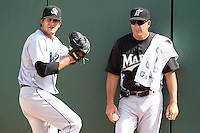 Florida Marlins roving pitching instructor Wayne Rosenthal with Jupiter Hammerheads pitcher Brad Hand #18 during a game against the Bradenton Marauders at McKechnie Field on June 22, 2011 in Bradenton, Florida.  Bradenton defeated Jupiter 5-4.  (Mike Janes/Four Seam Images)