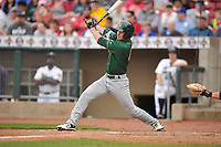 Beloit Snappers left fielder Cole Gruber (6) in action during a game against the Cedar Rapids Kernels at Veterans Memorial Stadium on April 8, 2017 in Cedar Rapids, Iowa.  The Snappers won 7-6.  (Dennis Hubbard/Four Seam Images)