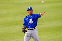 Biloxi Shuckers outfielder Corey Ray (1) warms up in the outfield prior to a Southern League game against the Jackson Generals on July 26, 2018 at The Ballpark at Jackson in Jackson, Tennessee. Jackson defeated Biloxi 9-5. (Brad Krause/Four Seam Images)