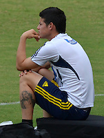BARRANQUILLA, COLOMBIA -09-06-2013: James Rodriguez jugador del equipo Colombia durante una sesión de entrenamiento en Barranquilla, Colombia, junio 9 de 2013. Colombia se prepara para el próximo partido contra Perú para la calificificacion a la Copa Mundo FIFA 2014 Brasil. (Foto: VizzorImage / Alfonso Cervantes / Str.). James Rodriguez player of Colombia Team during a training session in Barranquilla, Colombia, June 9, 2013.Colombia preparing for the next game against Peru for the qualifier to 2014 FIFA World Cup Brazil. (Photo: VizzorImage / Alfonso Cervantes / Str.)