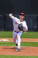 Milwaukee Brewers pitcher Zach Davies (1) delivers a pitch during a rehab start for the Wisconsin Timber Rattlers in a Midwest League game against the Burlington Bees on May 19, 2018 at Fox Cities Stadium in Appleton, Wisconsin. Wisconsin defeated Burlington 1-0. (Brad Krause/Four Seam Images)