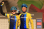 Valeriya Kononenko and Olha Shekel of Ukraine at sign on for the start of the Women Elite Road Race of the UCI World Championships 2019 running 149.4km from Bradford to Harrogate, England. 28th September 2019.<br /> Picture: Eoin Clarke | Cyclefile<br /> <br /> All photos usage must carry mandatory copyright credit (© Cyclefile | Eoin Clarke)