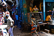 A street corner in the ancient city of Varanasi in Uttar Pradesh, India. Photograph: Sanjit Das/Panos