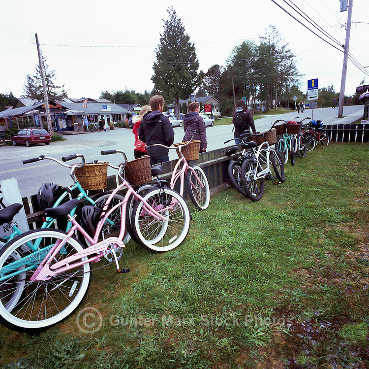 Tofino, BC, Vancouver Island, British Columbia, Canada - Bicycles leaning against Fence