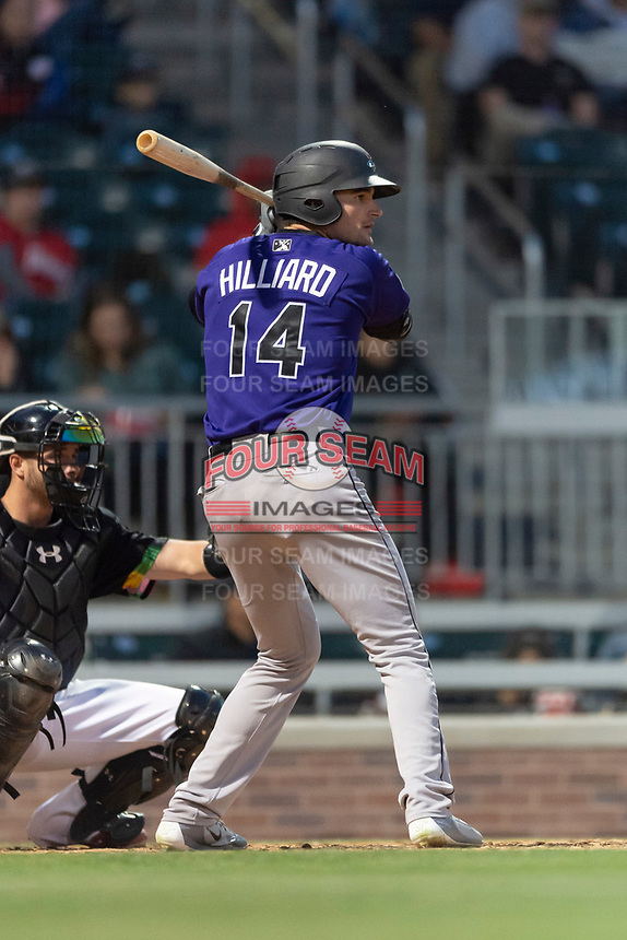 Albuquerque Isotopes right fielder Sam Hilliard (14) during a Pacific Coast League game against the El Paso Chihuahuas at Southwest University Park on May 10, 2019 in El Paso, Texas. Albuquerque defeated El Paso 2-1. (Zachary Lucy/Four Seam Images)