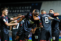 28th August 2021; Weston Homes Stadium, Peterborough, Cambridgeshire, England; EFL Championship football, Peterborough United versus West Bromwich Albion; West Bromwich Albion players celebrate their winning goal after 96 minutes (0-1)