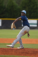 West Columbus Vikings player Eric Jenkins (5) pitching during a game against the Upper Room Christian Royals on the campus of West Brunswick High School on April 7, 2015 in Shallotte, North Carolina. West Columbus defeated Upper Room Christian 13-0. (Robert Gurganus/Four Seam Images)