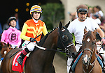 """Kevlar Kid and Chantal Sutherland in the San Diego Handicap """"Win and You're In Dirt Mile Division"""" at Del Mar Thoroughbred Club in Del Mar, CA.  July 24, 2011"""