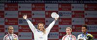 European Championships Fencing 2010 / Fecht Europameisterschaft 2010 in Leipzig - Competition Championat d'europe - im Bild: Siegerehrung / medal ceremony - florett damen - left to right - Silver Medal: Eugyenia Lamonova (RUS) Gold Medal:  Valentina Vezzali (ITA) Bronze Medal: Inna Deriglazova (RUS) and Elisa Di Francisca (ITA) . Foto: Norman Rembarz..Norman Rembarz , Autorennummer 41043728 , Augustenstr. 2, 04317 Leipzig, Tel.: 01794887569, Hypovereinsbank: BLZ: 86020086, KN: 357889472, St.Nr.: 231/261/06432 - Jegliche kommerzielle Nutzung ist honorar- und mehrwertsteuerpflichtig! Persönlichkeitsrechte sind zu wahren. Es wird keine Haftung übernommen bei Verletzung von Rechten Dritter. Autoren-Nennung gem. §13 UrhGes. wird verlangt. Weitergabe an Dritte nur nach  vorheriger Absprache..