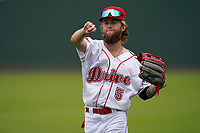 Cole Brannen (5) of the Greenville Drive before a game against the Asheville Tourists on Wednesday, June 2, 2021, at Fluor Field at the West End in Greenville, South Carolina. (Tom Priddy/Four Seam Images)