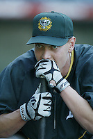 Adam Piatt of the Oakland Athletics before a 2002 MLB season game against the Los Angeles Angels at Angel Stadium, in Anaheim, California. (Larry Goren/Four Seam Images)