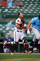 Baltimore Orioles catcher Carlos Perez (74) during a Grapefruit League Spring Training game against the Tampa Bay Rays on March 1, 2019 at Ed Smith Stadium in Sarasota, Florida.  Rays defeated the Orioles 10-5.  (Mike Janes/Four Seam Images)