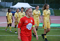 Jana Simons (8) of Woluwe entering the pitch at the start of a female soccer game between FC Femina White Star Woluwe and Club Brugge YLA on the second matchday in the 2021 - 2022 season of Belgian Scooore Womens Super League , Friday 27 th of August 2021  in Woluwe , Belgium . PHOTO SPORTPIX | SEVIL OKTEM