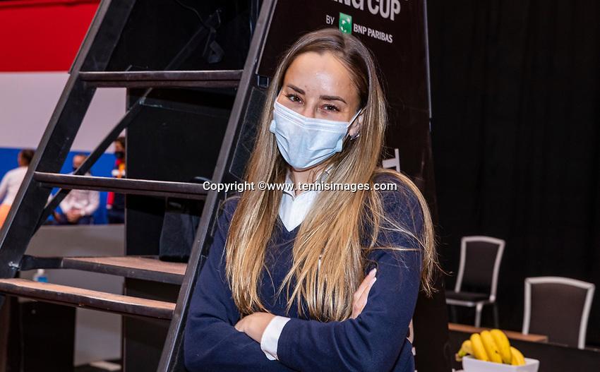 Den Bosch, The Netherlands, April 17, 2021,    Maaspoort, Billie Jean King Cup  Netherlands -  China , ITF umpire<br /> Photo: Tennisimages/Henk Koster