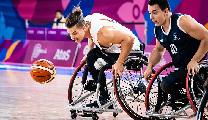 Nik Goncin, Lima 2019 - Wheelchair Basketball // Basketball en fauteuil roulant.<br /> Men's wheelchair basketball takes on Colombia in the semifinal game // Le basketball en fauteuil roulant masculin affronte la Colombie en demi-finale. 30/08/2019.