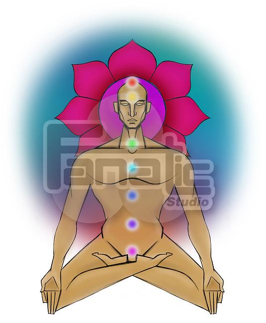 Illustrative representation showing the seven chakras of human body