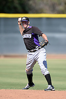 Colorado Rockies infielder Matt Wessinger (59) during an instructional league game against the Los Angels Angels of Anaheim on September 30, 2013 at Tempe Diablo Stadium Complex in Tempe, Arizona.  (Mike Janes/Four Seam Images)