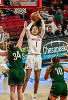 COLLEGE PARK, MD - DECEMBER 8: Shakira Austin #1 of Maryland goes up for a shot during a game between Loyola University and University of Maryland at Xfinity Center on December 8, 2019 in College Park, Maryland.