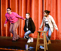 Marc Hayot/Herald Leader. Celeste Rosenberry (left), Rylei Wadsworth, and Jerry Aguilar take a bow after receiving third place.