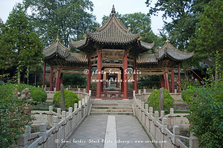 Chinese-style pavilion in the gardens of the Great Mosque of Xi'an the oldest mosque in the