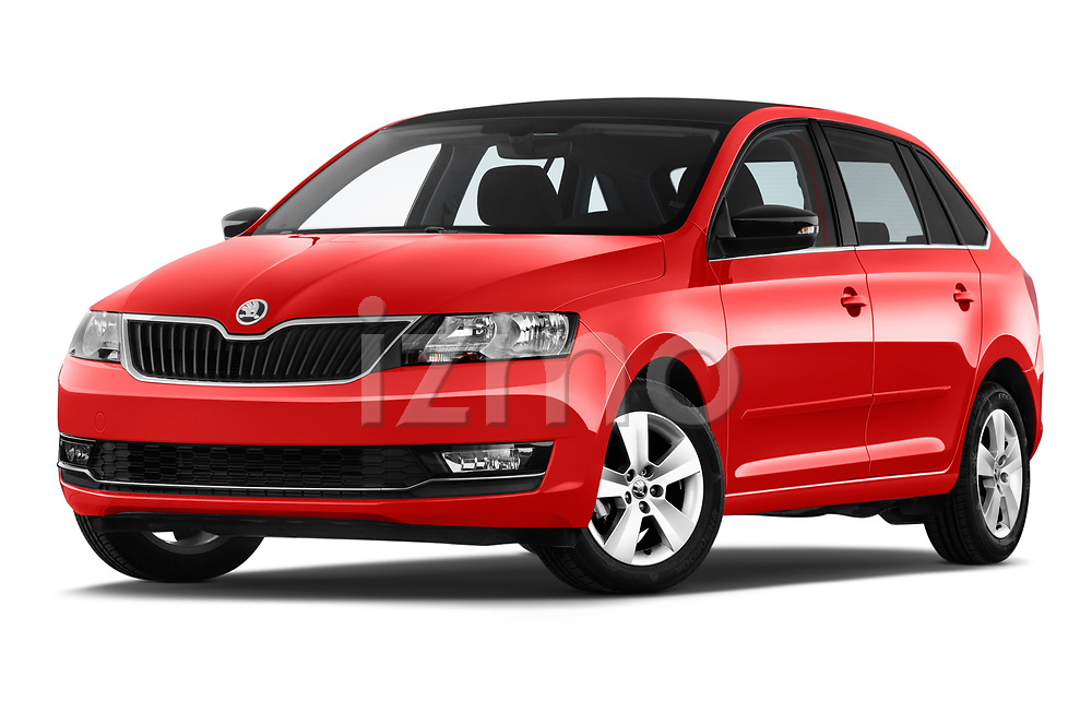 Stock pictures of low aggressive front three quarter view of a 2018 Skoda Rapid Spaceback Ambition 5 Door Hatchback