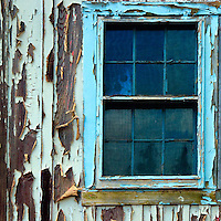 Blue Window With Peeling Paint, Island Of Lanai, Hawaii