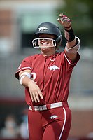 Arkansas outfielder Linnie Malkin celebrates a home run Saturday, Oct. 9, 2021, as she nears the plate during play against Butler Community College at Bogle Park in Fayetteville. Visit nwaonline.com/211010Daily/ for today's photo gallery.<br /> (NWA Democrat-Gazette/Andy Shupe)