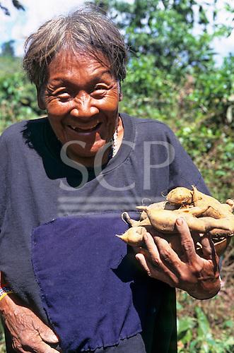 Koatinemo village, Brazil. Smiling elderly Assurini Indian woman holding sweet potatoes.