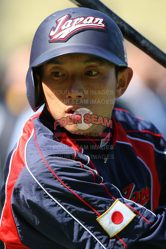 Munenori Kawasaki of Japan during a game against the United States at the World Baseball Classic at Dodger Stadium on March 22, 2009 in Los Angeles, California. (Larry Goren/Four Seam Images)