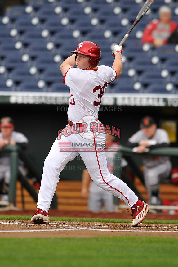 Indiana Hoosiers Scotty Bradley (30) swings during the Big Ten Tournament game against the Maryland Terrapins at TD Ameritrade Park on May 25, 2016 in Omaha, Nebraska.  Maryland  won 5-3.  (Dennis Hubbard/Four Seam Images)