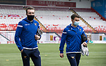 Hamilton Accies v St Johnstone …03.03.21   Fountain of Youth Stadium   SPFL<br />Zander Clark and Glenn Middleton arrive at the Fountain of Youth Stadium<br />Picture by Graeme Hart.<br />Copyright Perthshire Picture Agency<br />Tel: 01738 623350  Mobile: 07990 594431