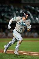 Daytona Tortugas outfielder Austin Hendrick (1) runs to first base during a game against the Palm Beach Cardinals on May 4, 2021 at Roger Dean Stadium in Jupiter, Florida.  (Mike Janes/Four Seam Images)