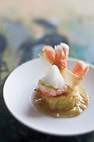 Europe/France/Bretagne/29/Finistère/Roscoff: Langoustines, Ravioles de poireau, et citron vert - recette de Loïc le Bail du restaurant Le Yachtman à l'Hôtel Brittany