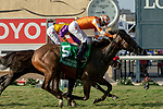 DEL MAR, CA  AUGUST 18:#5 Fatale Bere, ridden by Kent Desormeaux, edges out #4 Ollie's Candy, ridden by Tyler Baze, to win the Del Mar Oaks Presented by The Jockey Club (Grade 1) on August 18, 2018 at Del Mar Thoroughbred Club in Del Mar, CA.(Photo by Casey Phillips/Eclipse Sportswire/Getty Images