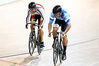 Bradly Knipe and Ethan Mitchell compete in the Men Elite Sprint race during the 2020 Vantage Elite and U19 Track Cycling National Championships at the Avantidrome in Cambridge, New Zealand on Friday, 24 January 2020. ( Mandatory Photo Credit: Dianne Manson )