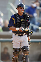 June 24, 2009:  Catcher Tony Sanchez of the State College Spikes in the field during a game at Eastwood Field in Niles, OH.  The State College Spikes are the NY-Penn League Short Season-A affiliate of the Pittsburgh Pirates.  Photo by:  Mike Janes/Four Seam Images