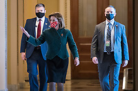 Nancy Pelosi (Democrat of California) arrives at the U.S. Capitol for a veto override vote of the ND