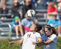 Allston, Massachusetts - September 14, 2014: NCAA soccer match, Colgate University (maroon) defeated Harvard University (white), 1-0, at Harvard Soccer Stadium.
