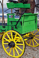 Green and yellow covered wagon. Cedarville. Nevada