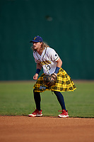 Savannah Bananas second baseman Kyler Marquis (3) during a Coastal Plain League game against the Macon Bacon on July 15, 2020 at Grayson Stadium in Savannah, Georgia.  Savannah wore kilts for their St. Patrick's Day in July promotion.  (Mike Janes/Four Seam Images)