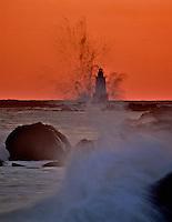 Sakonnet Point Lighthouse at sunset