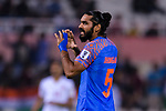 Sandesh Jhingan of India reacts during the AFC Asian Cup UAE 2019 Group A match between India (IND) and Bahrain (BHR) at Sharjah Stadium on 14 January 2019 in Sharjah, United Arab Emirates. Photo by Marcio Rodrigo Machado / Power Sport Images