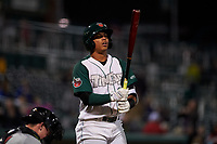 Fort Wayne TinCaps third baseman Luis Almanzar (3) during a Midwest League game against the Quad Cities River Bandits at Parkview Field on May 3, 2019 in Fort Wayne, Indiana. Quad Cities defeated Fort Wayne 4-3. (Zachary Lucy/Four Seam Images)
