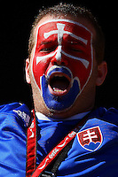 Slovakia fans in the stands before the game against New Zealand.