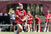 NEWTON, MA - MAY 14: Madeline Dent #5 of Fairfield University brings the ball forward during NCAA Division I Women's Lacrosse Tournament first round game between Fairfield University and Boston College at Newton Campus Lacrosse Field on May 14, 2021 in Newton, Massachusetts.