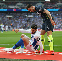 Manchester City's Kyle Walker and Brighton & Hove Albion's Alireza Jahanbakhsh have a disagreement<br /> <br /> Photographer Rob Newell/CameraSport<br /> <br /> Emirates FA Cup Semi-Final - Manchester City v Brighton & Hove Allbion - Saturday 6th April 2019 - Wembley Stadium - London<br />  <br /> World Copyright © 2019 CameraSport. All rights reserved. 43 Linden Ave. Countesthorpe. Leicester. England. LE8 5PG - Tel: +44 (0) 116 277 4147 - admin@camerasport.com - www.camerasport.com