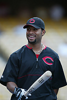 Ruben Mateo of the Cincinnati Reds during a 2003 season MLB game at Dodger Stadium in Los Angeles, California. (Larry Goren/Four Seam Images)