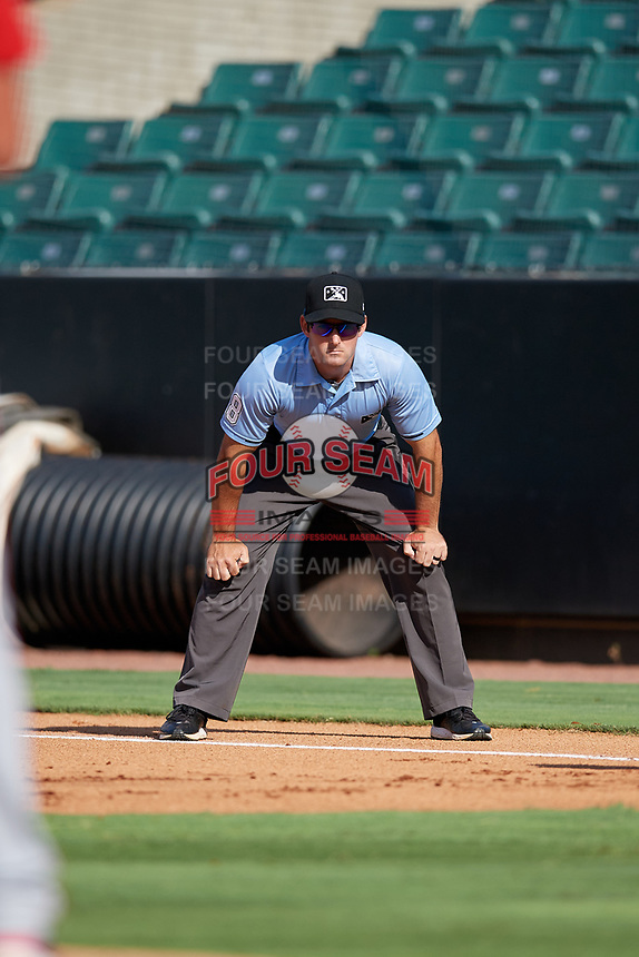 Umpire Ben Sonntag during a Southern League game between the Mississippi Braves and Jackson Generals on July 23, 2019 at The Ballpark at Jackson in Jackson, Tennessee.  Jackson defeated Mississippi 2-0 in the first game of a doubleheader.  (Mike Janes/Four Seam Images)