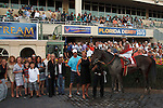 Orb and connections in the winners circle after winning the Fountain of Youth (G2) at Gulfstream Park. Hallandale Beach Florida. 02-23-2013